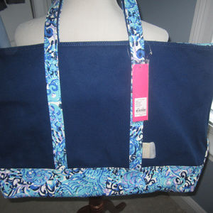 NEW LILLY PULITZER  LARGE MERCADO NAVY TOTE
